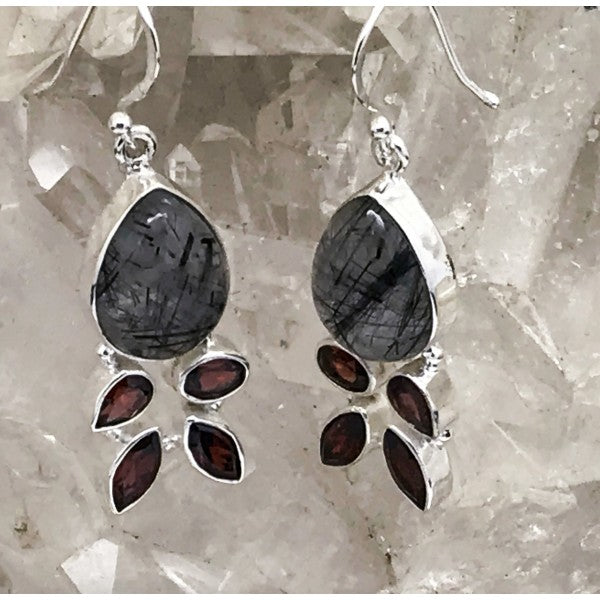 Tourmalinated Quartz Earrings With Garnet $90