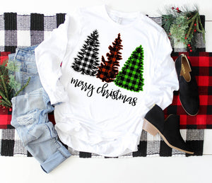 Merry Christmas Plaid Long-Sleeve Tee