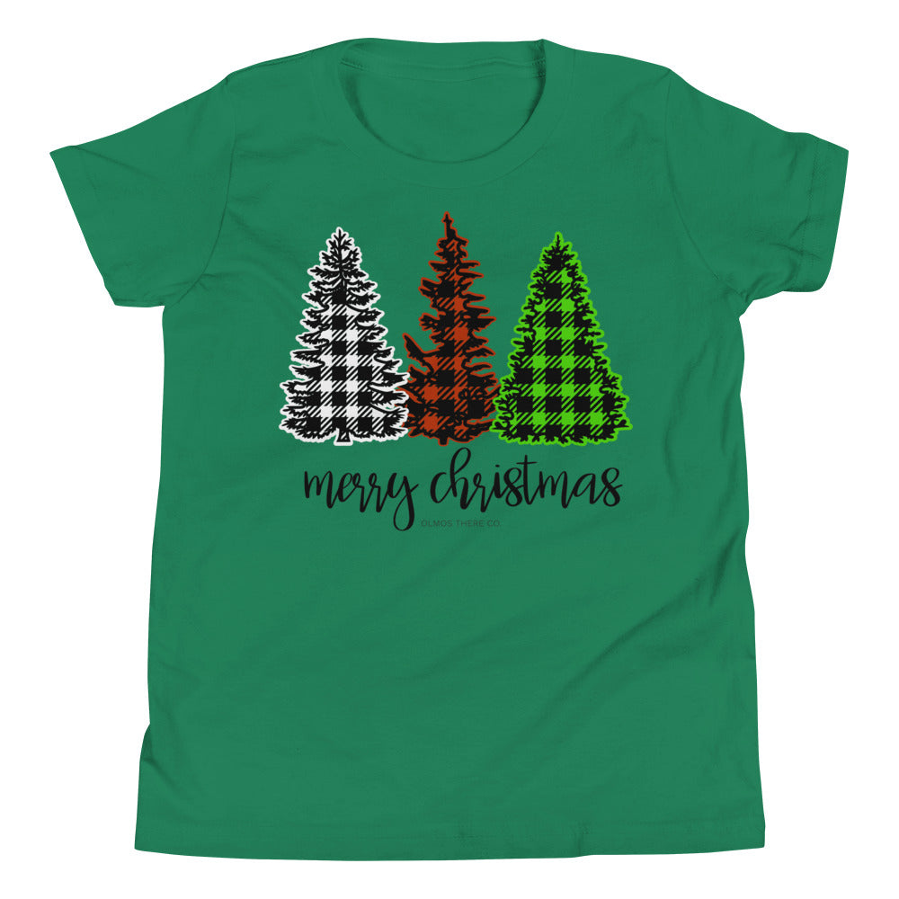 Merry Christmas Plaid Kids T-Shirt