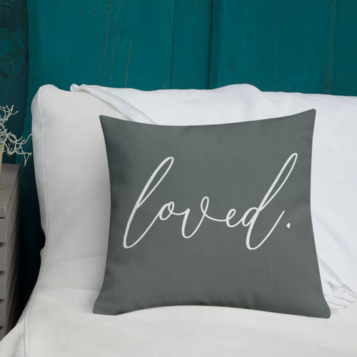 'Loved.' Pillow