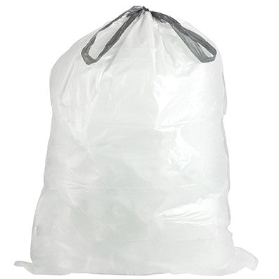 25 X 30 / 13 GAL. / LOW-DENSITY / WHITE KITCHEN DRAW-STRING BAG / .9 MIL. (200/CASE)