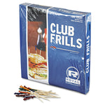 "FRILL / CLUB CELLOPHANE-FRILL WOOD PICKS, 4"", ASSORTED (1,000/BOX)"