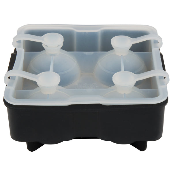 "BLACK SILICONE 4 COMPARTMENT 1 3/4"" SPHERE ICE MOLD WITH LID"