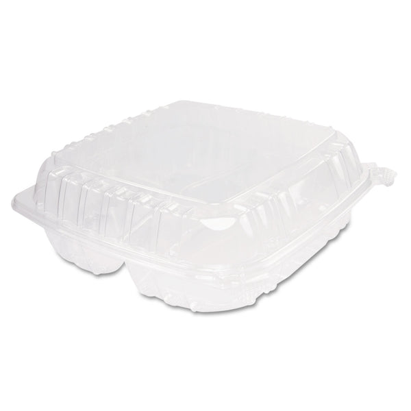 9 X 9.5 HINGED TRAY / CLEAR PLASTIC / 3 COMPARTMENT (200/CS)