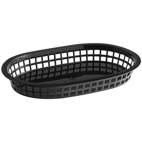 "FAST FOOD BASKET / BLACK / OVAL / 11"" X 7"" (12/PK)"