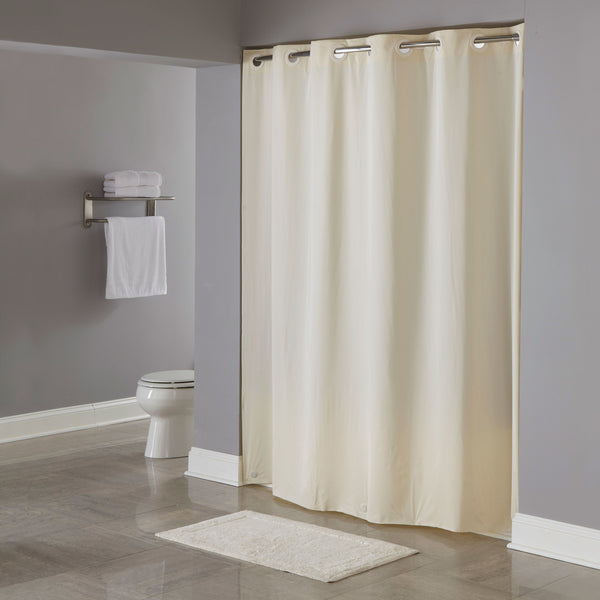 "HOOKLESS HBH04PDT05L BEIGE 8-GAUGE PIN DOT SHOWER CURTAIN WITH MATCHING FLAT FLEX-ON RINGS AND WEIGHTED CORNER MAGNETS - 71"" X 77"""