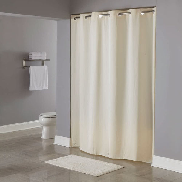 SHOWER CURTAIN / 71 X 74 / WITHOUT WINDOW / BEIGE / !00% 95 GSM VIRGIN POLESTER FABRIC