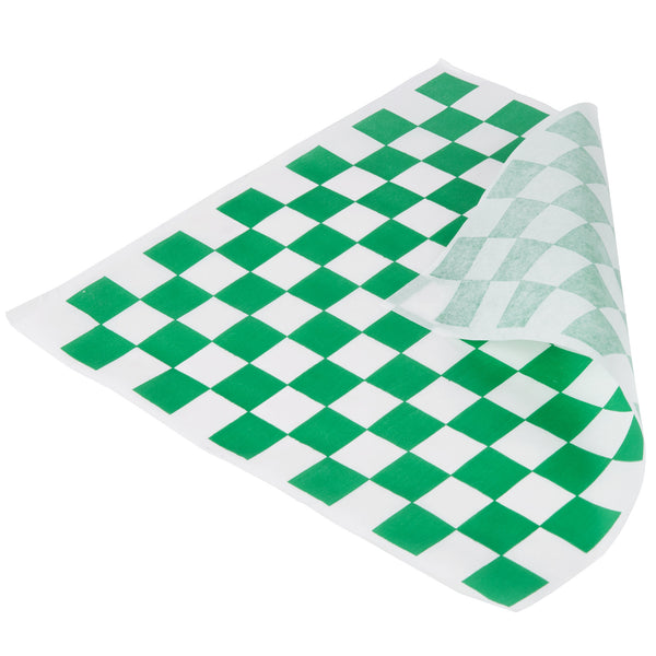 "12"" X 12"" GREEN CHECK DELI SANDWICH WRAP (5,000/CS)"