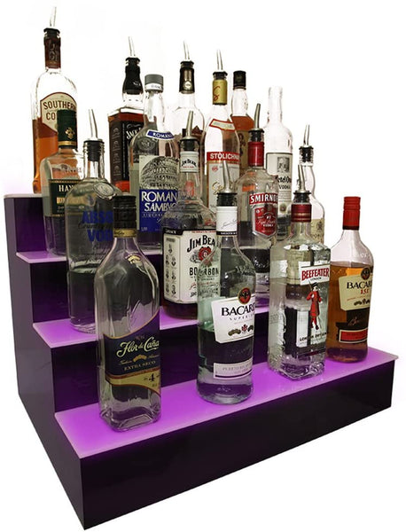 "LIQUOR SHELF / 3 TIER / BLACK / MULTI COLOR LED'S / 36"" LENGTH"