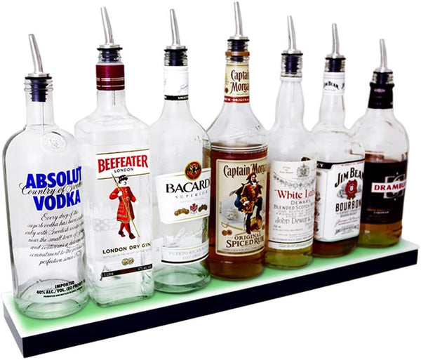 "LIQUOR SHELF / 1 TIER / BLACK / 48"" LENGTH / LOW PROFILE"