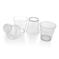1.5oz Clear Plastic Shot glass. This glass features a 1.25oz measure line (24/slv)