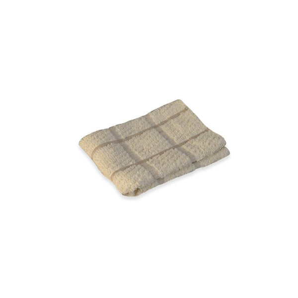 KITCHEN DISH CLOTH / 100% COTTON / TAN / 12 X 12 (DOZEN)