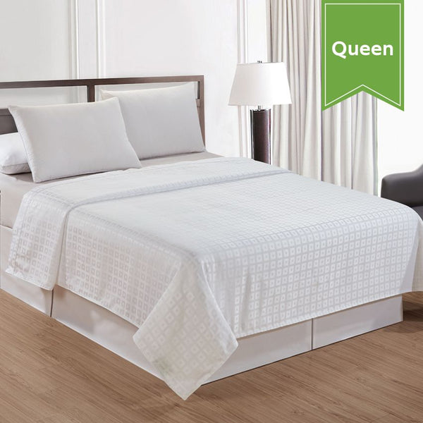 TOP SHEET / GEO BOX / SATIN STRIPE SQUARE PATTERN / QUEEN