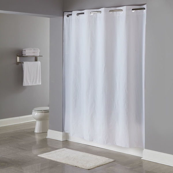 "HOOKLESS HBH04PDT01L WHITE 8-GAUGE PIN DOT SHOWER CURTAIN WITH MATCHING FLAT FLEX-ON RINGS AND WEIGHTED CORNER MAGNETS - 71"" X 77"""