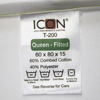 T200 / QUEEN FITTED SHEETS 60 X 80 X 15 EXTRA LONG EXTRA DEEP ICON LUXURY SHEETING (DOZEN) (2/CS)