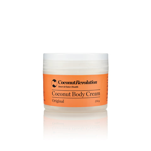coconut oil body cream original for moisturizing sensitive and dry skin.