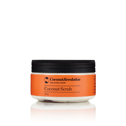coconut oil body exfoliating scrub for sensitive and dry skin.