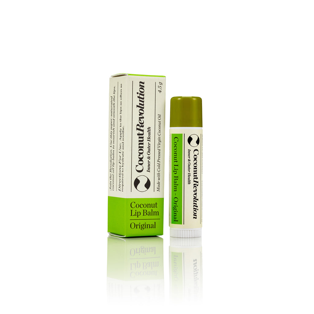 coconut oil original lip balm for super hydrating sensitive, dry and cracked lips.