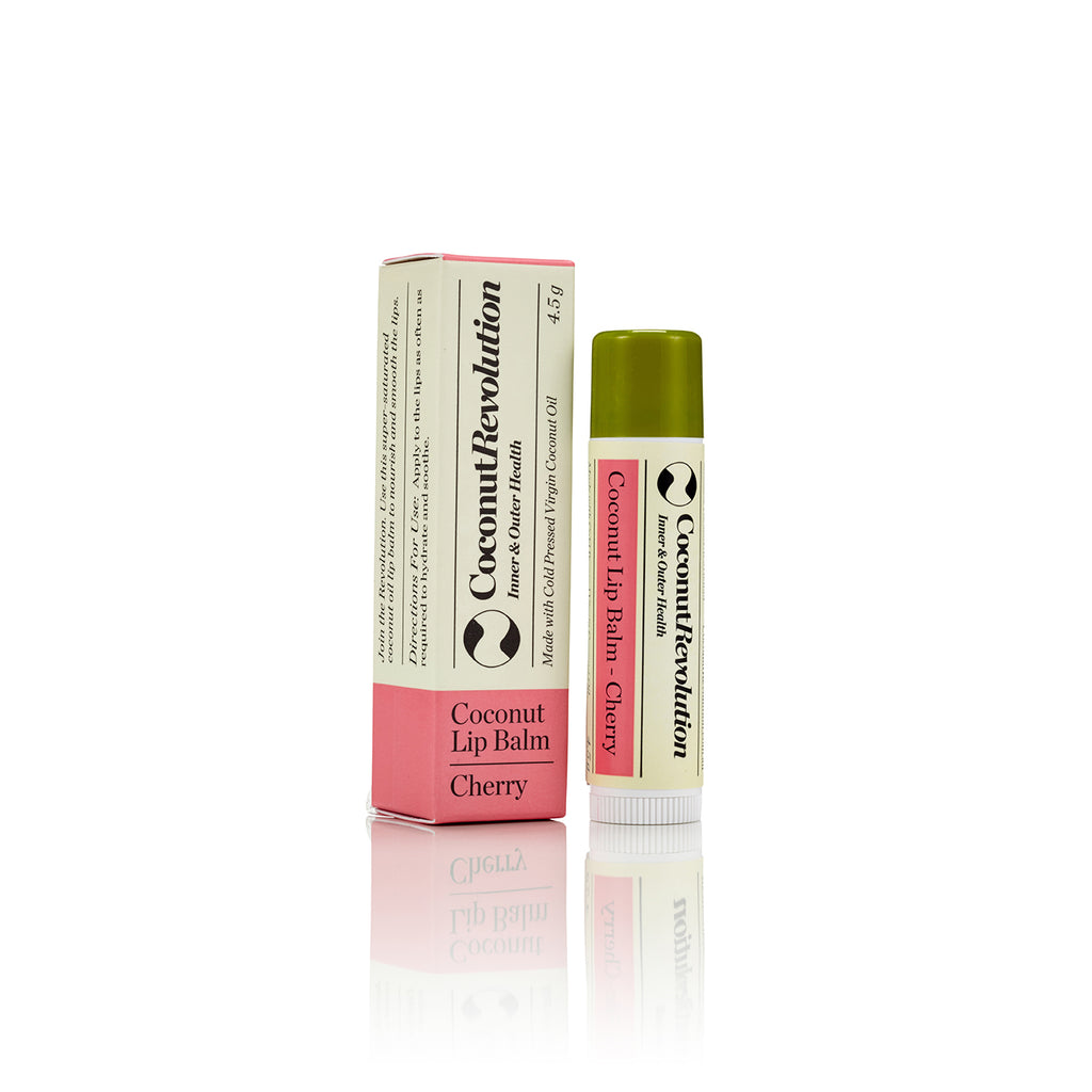 coconut oil cherry lip balm for super hydrating sensitive, dry and cracked lips.