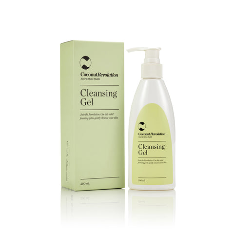 coconut revolution gentle cleansing gel for cleansing of sensitive skin.