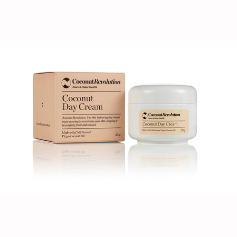 coconut oil day cream for moisturizing of sensitive skin.