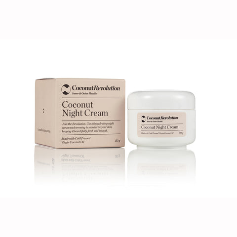 coconut oil night cream for moisturizing of sensitive skin.
