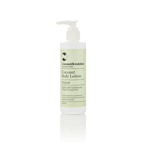 coconut oil body lotion original for moisturizing sensitive and dry skin.