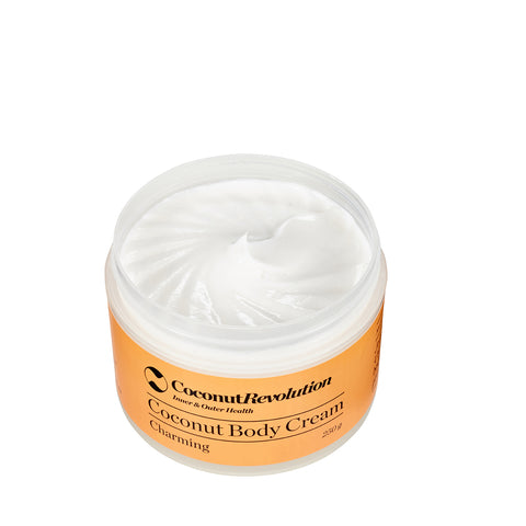 coconut oil body cream charming for moisturizing sensitive and dry skin.