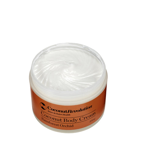 coconut oil body cream rainforest orchid for moisturizing sensitive and dry skin.