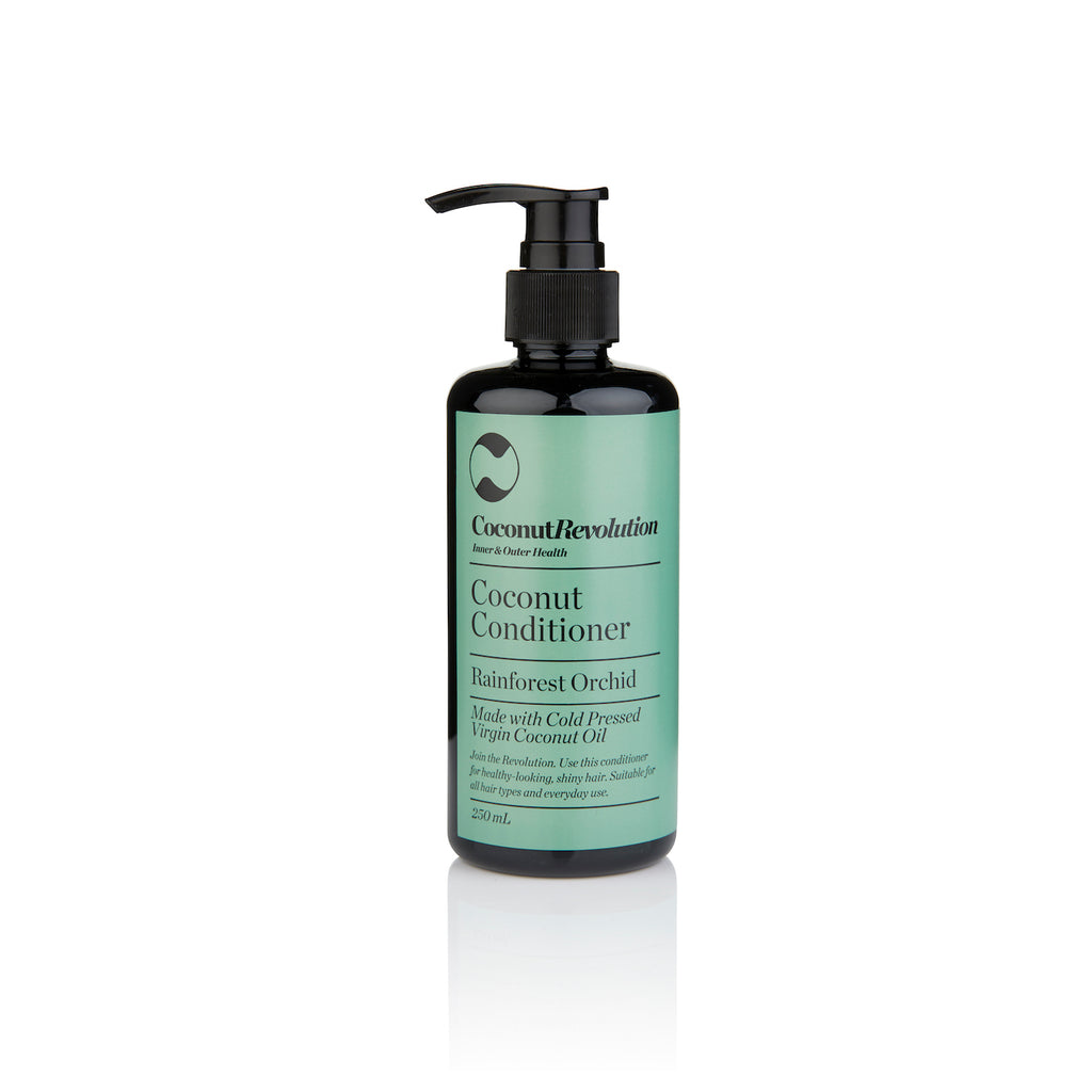 coconut oil conditioner rainforest orchid for itchy, dry scalp and shiny hair.