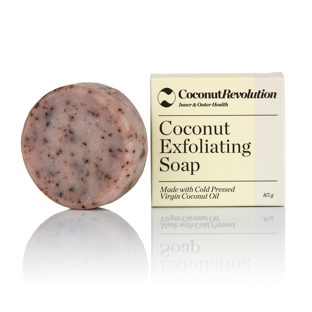 Coconut exfoliating soap for dry and sensitive skin.