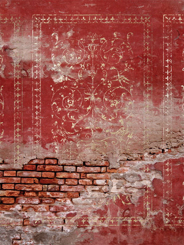 Red Plaster Wall Printed Photo Backdrop
