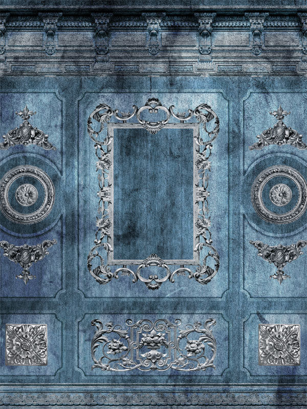 Ornate Blue Wall Printed Photo Backdrop