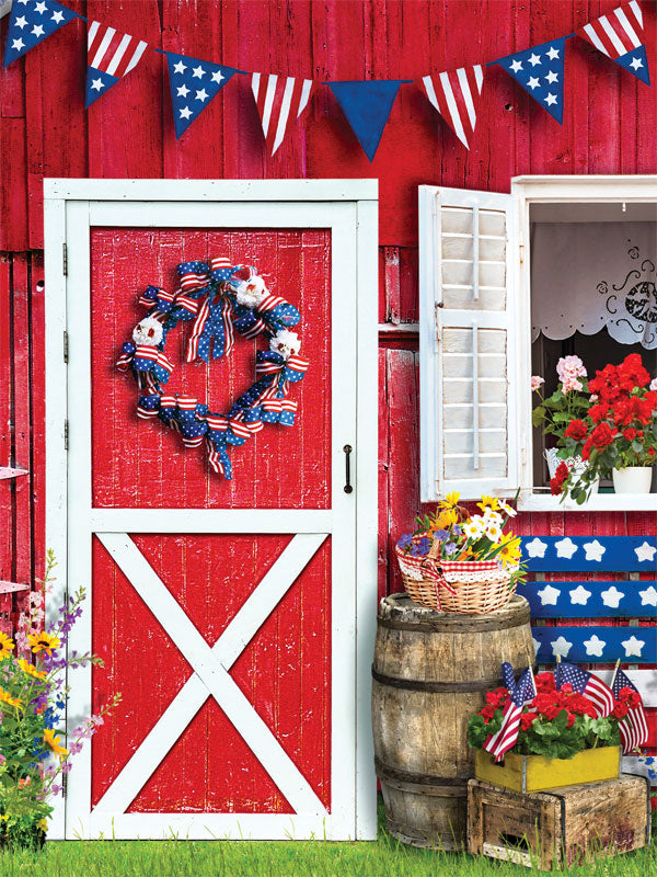 Patriotic Barn Printed Photo Backdrop