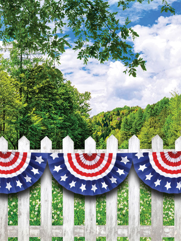 Patriotic Fence Printed Photo Backdrop