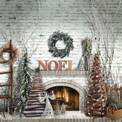 Noel Christmas Fireplace Backdrop