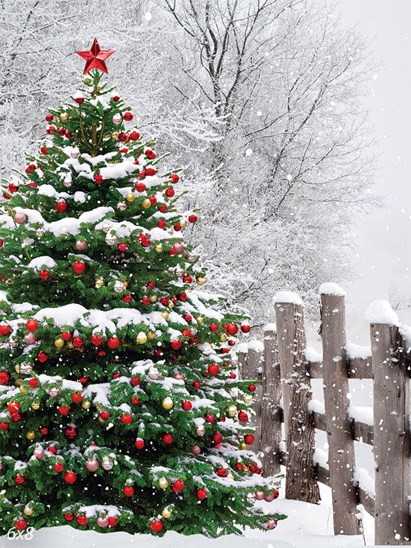 Outdoor White Country Christmas Tree Backdrop