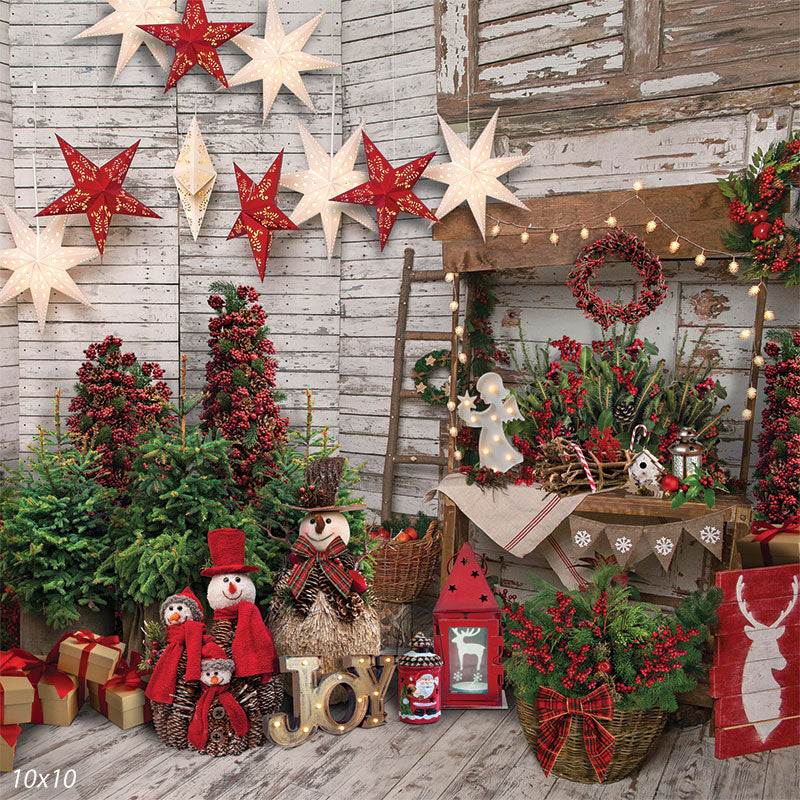 Rustic Red Christmas Backdrop
