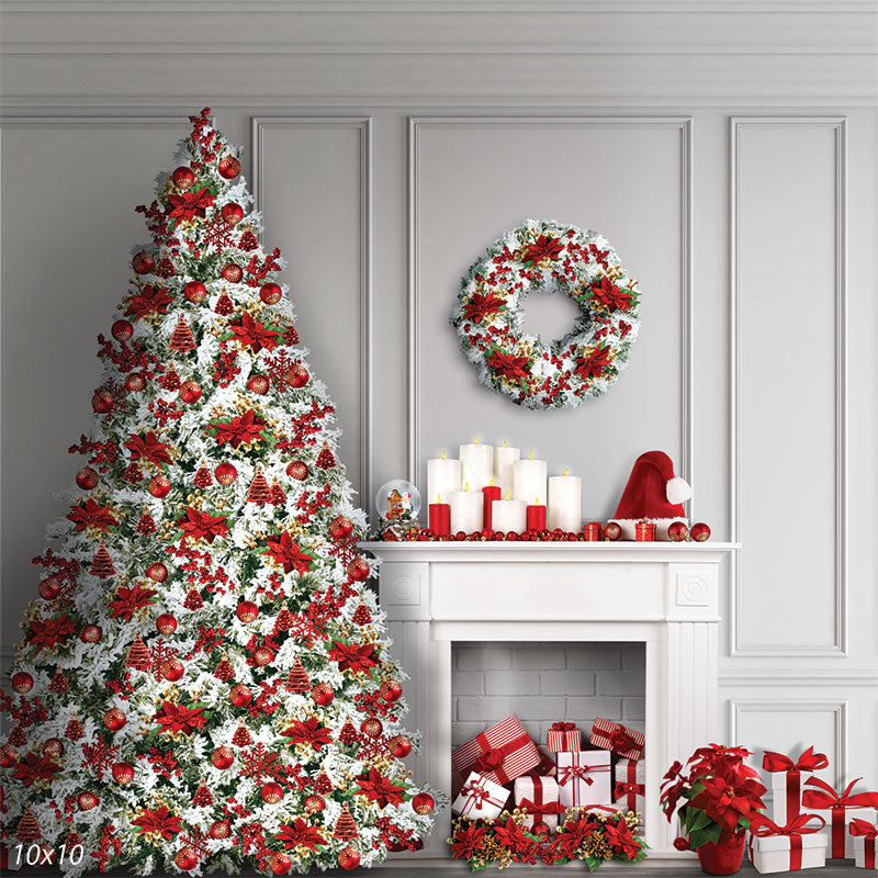 Christmas Tree and Fireplace Backdrop