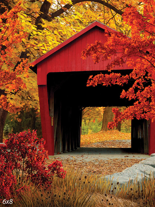 Red Covered Bridge Backdrop