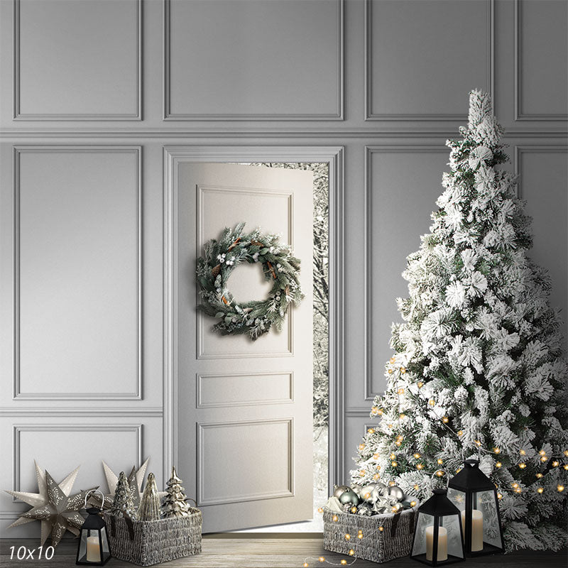 Snow Christmas Door Backdrop