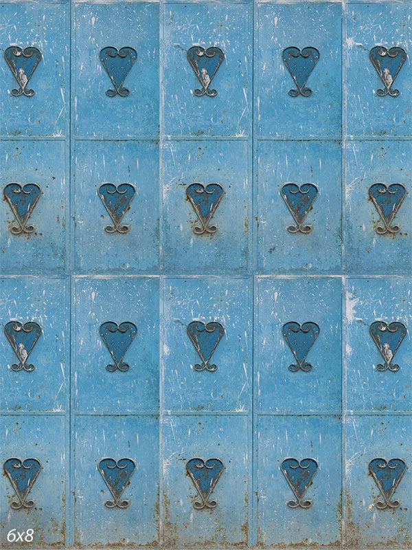 Metal Hearts Blue Valentines Day Backdrop