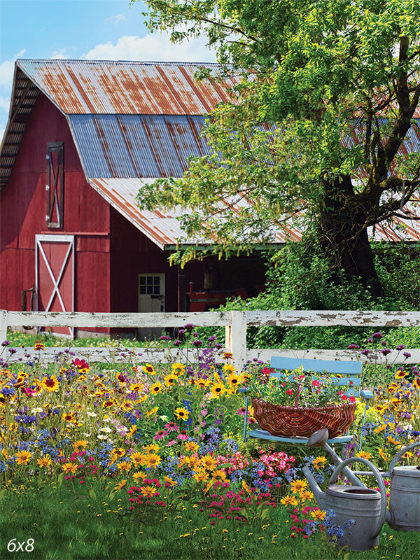 Red Barn Garden Backdrop