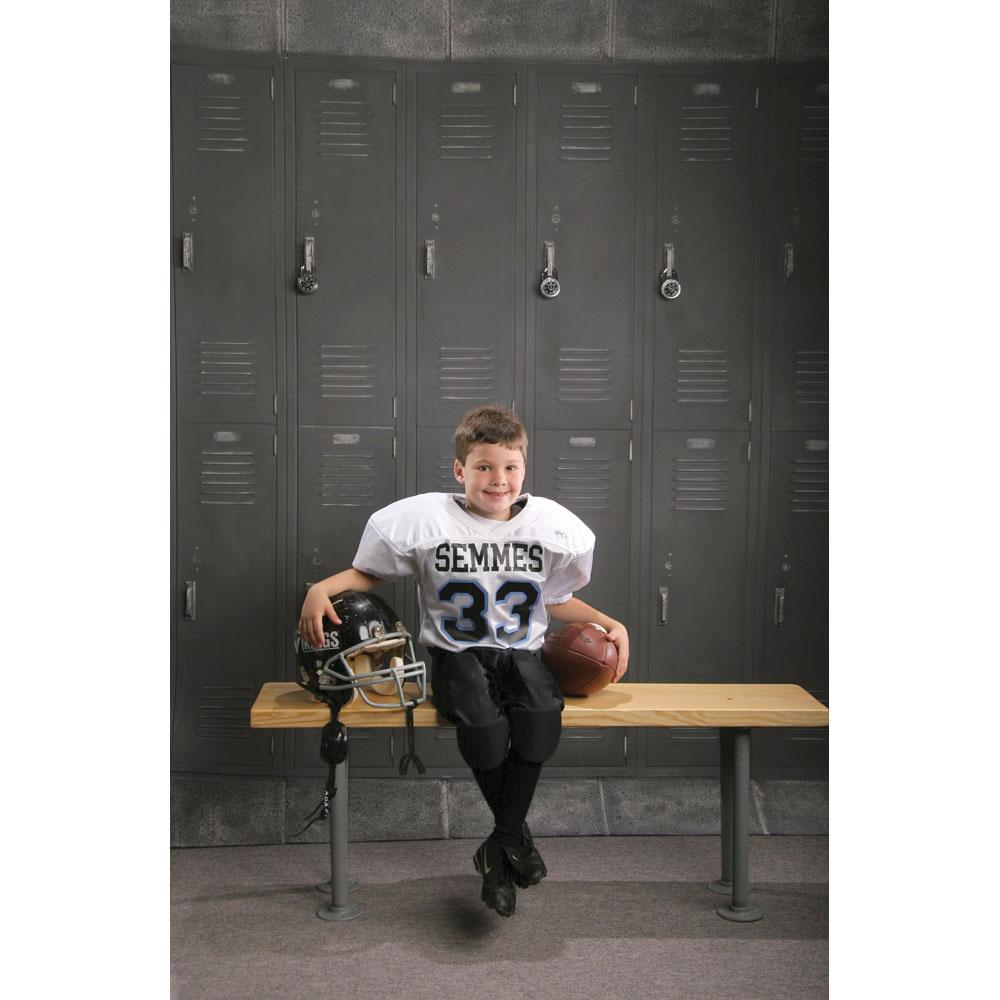 Football Pl;ayer Portrait on Locker Room Photo Prop