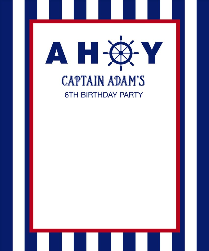 Blue and White Nautical Birthday Backdrop