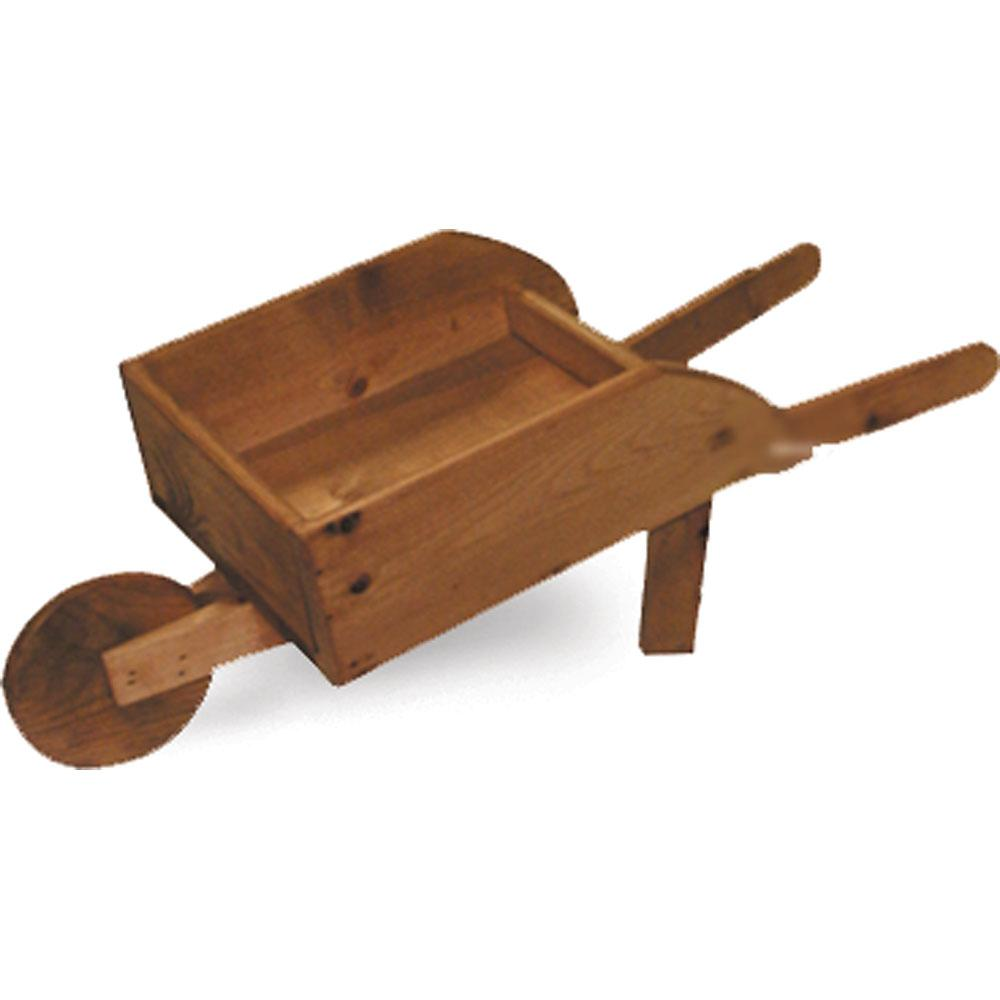 stained wood wheelbarrow child prop