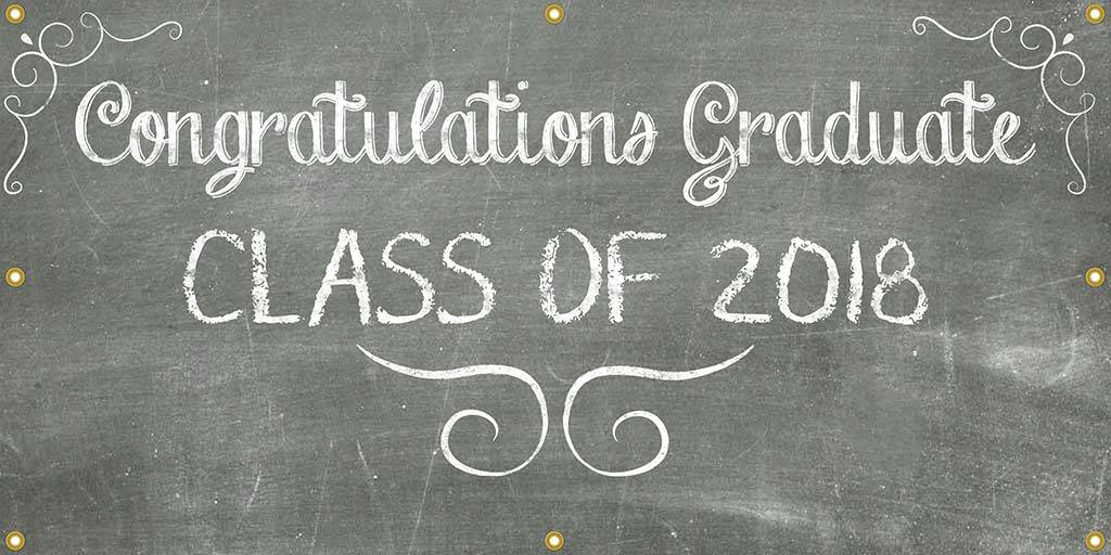 Chalkboard Graduation Banner - The Backdrop Store