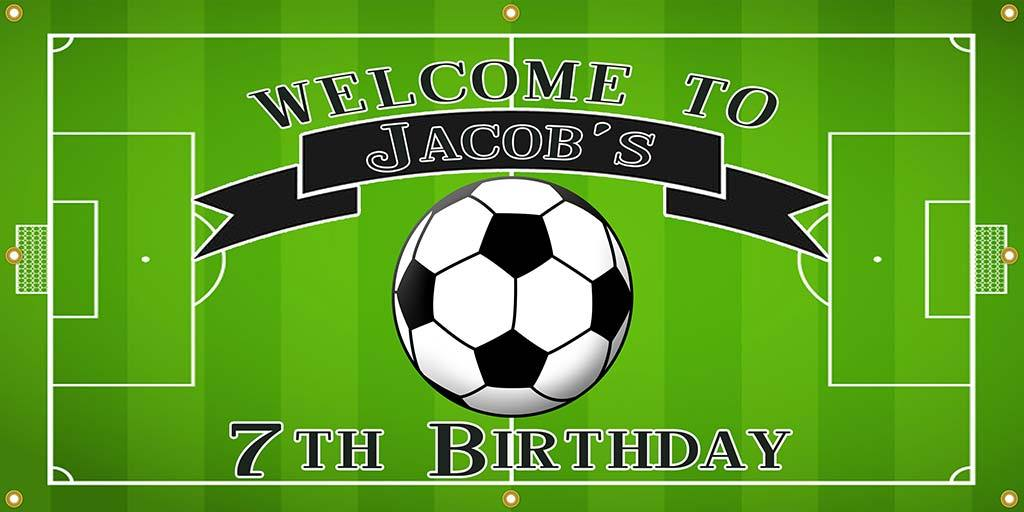 Personalized Soccer Birthday Banner - The Backdrop Store