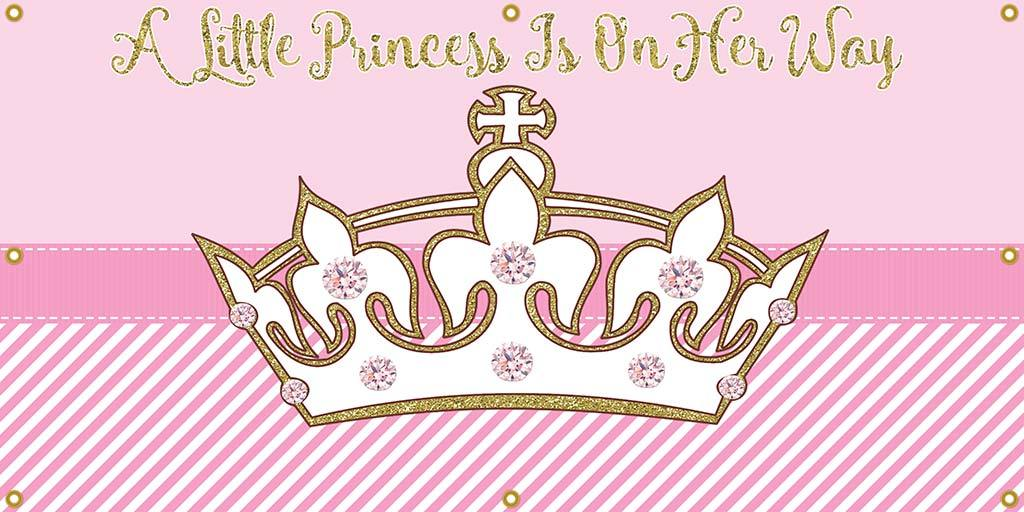 Princess Crown Personalized Banner - The Backdrop Store