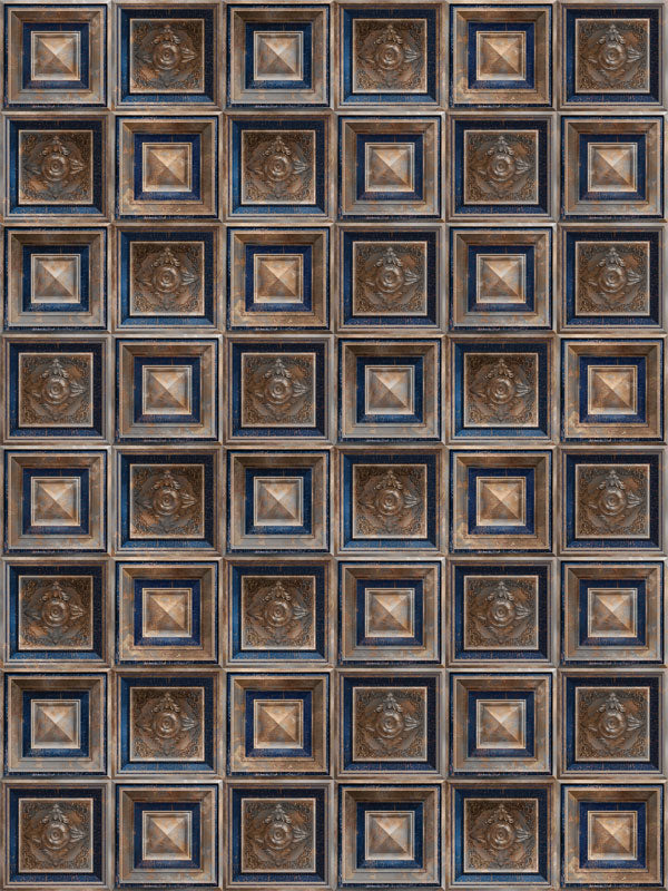 Baroque Blue & Rust Printed Photo Backdrop